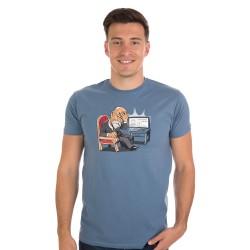 Masaryk pánské triko BASTARD, šedo modrá