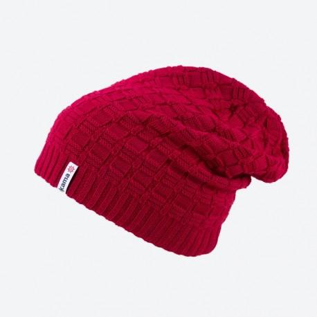 KAMA pletená Merino čepice A123, červená